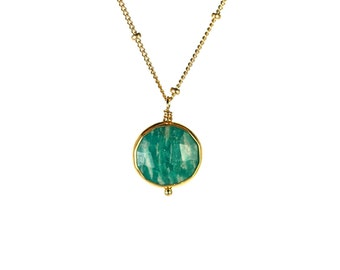 Green amazonite necklace - gold bezel set - gemstone necklace - green crystal necklace - 14k gold vermeil chain
