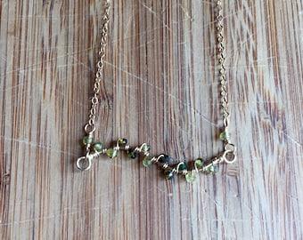 Tourmaline Vine Layering Necklace 14 Karat Gold Filled Wire and 14 Karat Gold Filled Chain