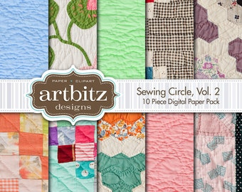 "Sewing Circle, Vol. 2, 10 Piece Quilt Pattern Digital Scrapbooking Paper Pack, 12""x12"", 300 dpi .jpg, Instant Download!"