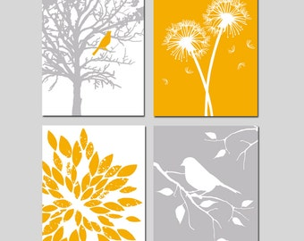 Nature Nursery Art - Bird in a Tree, Love, Bird on a Branch, Dandelions, Abstract Floral - Set of Four Prints - CHOOSE YOUR COLORS