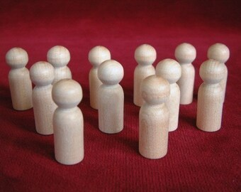 12  No. 8 Small Boy Peg Dolls Unfinished Hardwood
