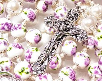 Antique style purple rose flower ceramic white pearl silver crucifix Catholic rosary beads