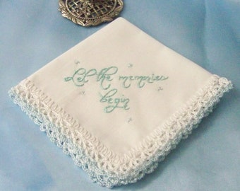 Wedding Handkerchief, Something Blue, Bridal Keepsake, Hand Crochet, Hand Embroidered, Lace, Ready to ship
