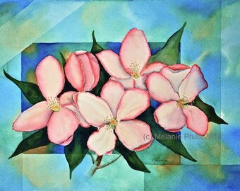 Cherry Blossom ORIGINAL 11x14 floral geometric turquoise pink coral spring flower Watercolor Painting by Melanie Pruitt EBSQ SFA