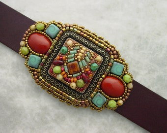 Mosaic Bracelet in red and green