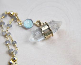 Quartz Crystal Necklace, Labradorite Necklace, Pyrite Necklace, Quartz Necklace, Trendy Boho Necklace, Bohemian Necklace, Labradorite,Pyrite