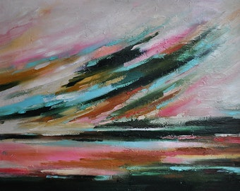 "Original Abstract Painting  Large Textured Oil Painting Autumn Sky Pink Brown Dark Green UNSTRETCHED 32""x24"""