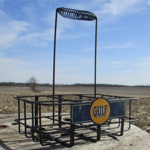 Gas Service Station Oil Can Bottle Wire Rack Carrier Milk Garage Pump e, Rustic Wire Carrier, Bottle Carrier,Service Station Oil Can