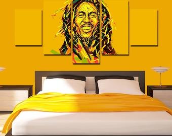 Bob Marley Canvas Art Poster Print 5 Panel Home Wall Decor