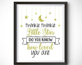 Printable Wall Art - Twinkle Twinkle Little Star Nursery Decor Instant Download Digital Print Home Decor