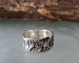 Silver Tree Bark Ring 10mm Wide Sterling Silver Band Size 8, Textured Rustic Thick Silver Ring Nature Wedding Ring, Twig Ring, Wedding Band