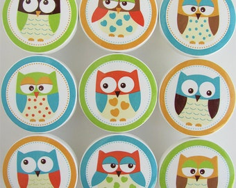 Hoot Owls-Colorful Owl Knobs, Lime Green, Orange, Blue Owl Drawer Knobs -Wood Knobs- 1 1/2 Inches -  Choose your quantity - Made to order