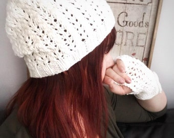 Lace Slouch Hat and Glove Set