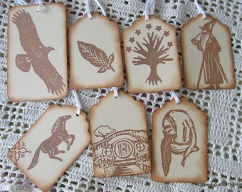 Tolkien Tags Sepia Tone Pack - Handstamped Set of Seven from hand carved stamps