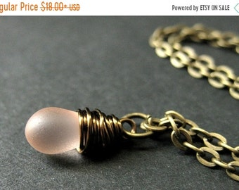 MOTHERS DAY SALE Teardrop Necklace. Frosted Pink Teardrop Necklace in Bronze. Bridesmaid Necklace. Handmade Jewelry.