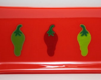 Fused Glass Chili Pepper Serving or Appetizer Tray