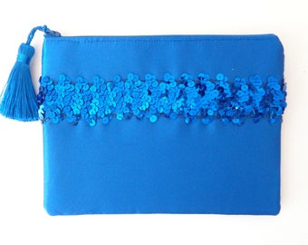 Blue Clutch, Sequin Clutch, Bridesmaid Gift, Brides Purse, Wedding Purse, Evening Bag, Blue Purse, Girls Purse, Mother's Day, prom