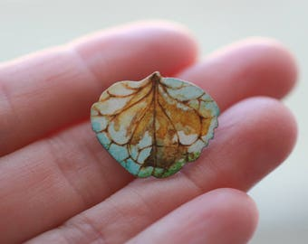 Art Jewelry Handmade Pin Brooch Flower Floral Petal Aqua Turquoise Painted