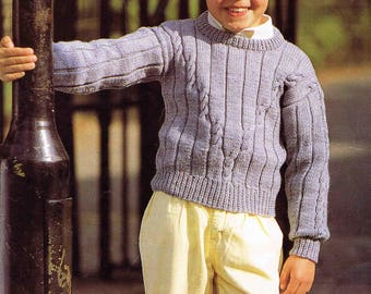 PDF - Boy's Girl's Child's Sweater Pullover Jumper - Size 56 to 81 cm (22 to 32 inches) Patons Double Knitting 3550 Vintage Knitting Pattern