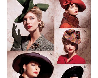Vogue V7464 Misses' Vintage 1930s and 1940s Style Set of Hats Sewing Pattern