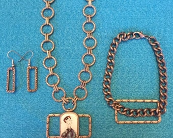 Asian inspired chain necklace, blue and white pendant, matching earrings