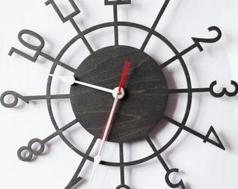 Large wall clock, Wooden wall clock, Wood clock, Wall clock, Modern large clock, Kitchen clock,