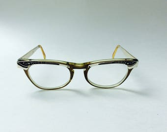 Vintage 1960s Cat Eye Glasses  Eyeglasses Vista Librarian Style Cat-Eye Metal Arm & Plastic Frame Eyewear 60s 70s Eyeglass Frames Classic