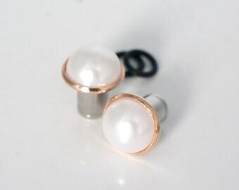 "Pearl Plugs 8g-5/8"" Rose Gold Wedding Gauges 2mm-16mm"