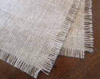"""Fringed burlap table runner, table centerpiece, 12"""" AND 14"""" wide by varying lengths, rustic"""