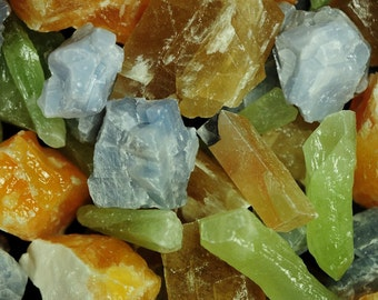 """Fantasia Materials:  1 lb """"AAA"""" Grade Assorted Calcite Rough - Raw Natural Crystals for Tumbling, Wrapping, Polishing, Reiki and More!"""