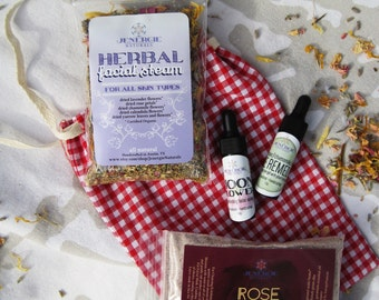 Gift set /// Mini Spa Facial /// Moonflower Replenishing Serum,  Eye Remedy,  Herbal Steam, Cleansing Grains