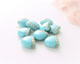 beads Czech glass, turquoise blue glass bead, Bohemian, blue and gold glass bead