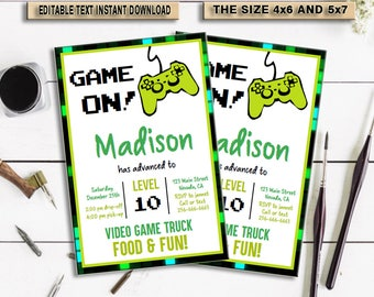 INSTANT DOWNLOAD_Video Game Birthday Invitation, Video Game Invitation, Video Game Birthday, Gaming Party Invitation, Game Party,Digital,PDF