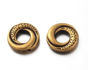 WHOLESALE - Antique Bronze 15mm Donuts Tibetan Style Bead Frames (3 Sets of 50)
