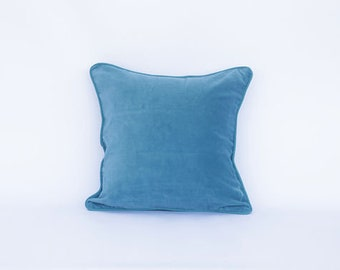 Turquoise cushion cover, 16 x 16 in., velvet cushion cover, cotton cushion, Bohemian cushion, accent cushion, decorative pillow