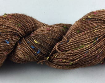 hand dyed sock yarn, donegal tweed sock, superwash merino and NEP, colorway BROWNIE