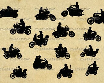 Digital SVG PNG JPG Bikers, motorcycle bike rider, vector, clipart, silhouette, instant download