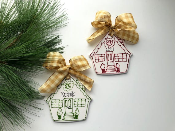 Hand painted, ceramic, house ornament, Family, Christmas ornament, our first house, this house believes, realtor ornament, the Sophie orn