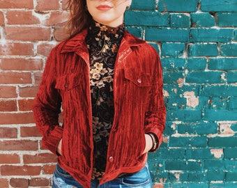 NEW!! Flaming HOT CRUSHED Velvet Jacket // Small