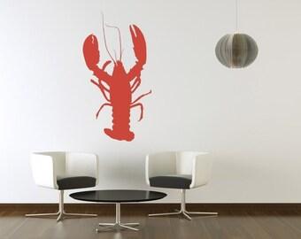 Lobster Wall Decal, Beach Wall Decor, Lobster Decal, Coastal Decor Beach, Coastal Wall Decor, Nautical Nursery Decor, Beach House Decor