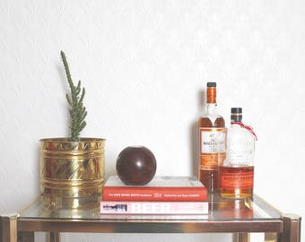 vintage wood spherical tea light holder // deep brown wood grain candle holder // mid century modern