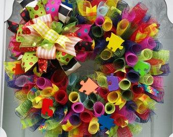 Autism Wreath, Door Hanger, Home Decor