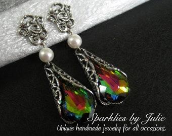 Vitrail Earrings, Antique Silver Victorian Filigree, Filigree Earring Post, Teardrop Swarovski Crystal, Blue, Green, Pink, Gold