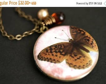 MOTHERS DAY SALE Brown Butterfly Locket Necklace. Amber Butterfly Necklace with Dark Amber Teardrop and Pearl Charm. Photo Locket. Bronze Ne