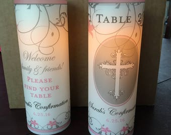Luminary - Luminary Table Numbers - Centerpiece Luminaries for Baptisms - Confirmations - First Communion  - Unity Candles - 10 luminary