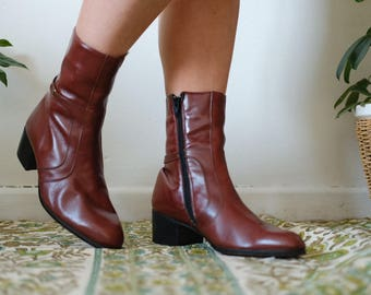 1980s geuine leather made in spain Brown leather booties ankle boots Uk6 EU39