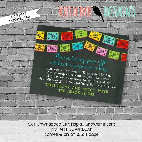 Display shower insert Unwrapped gift enclosure card Fiesta bridal shower invitation Couples Papel Picado invitation | 301 katiedid designs