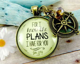 For I Know the Plans I Have For You Jeremiah 29 11 Necklace Rustic Christian Faith Jewelry Young Adult Graduation Gift Idea Compass Charm