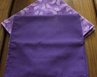Pretty Purple Butterflies All Cotton Reversible Cloth Napkins with a Purple Backing - Set of 4