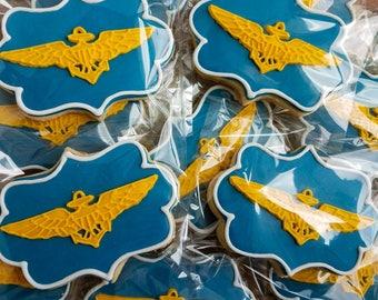 One dozen (12) Navy Winging Wings Sugar Cookies